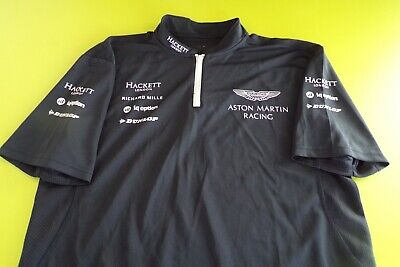 Aston Martin Racing Team Issue Polo Shirt Mens Medium Full Sponsers L Last One