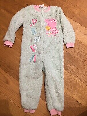 Girls Peppa Pig Fleece Pyjama All In One Suit  Size 3-4years