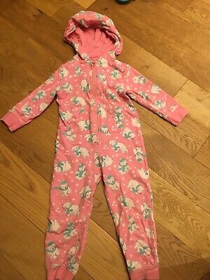 Girls Tesco Pink Polar Bear Christmas All In One Suit Age 3-4years
