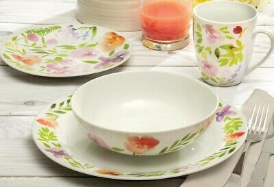 32-Piece Pink Floral China Dinnerware Set Service for 8  NEW FREE SHIP
