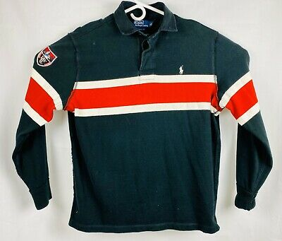 Ralph Lauren Custom Fit Mens XL Snow Mountain Patch Polo Long Sleeve Blue Red