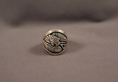 Old Pawn Navajo Silver Ring  Signed RB  Size 9 1/4