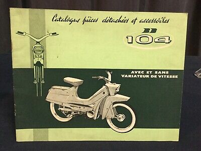 Rare Catalogue Pieces Détachées 1962 Cyclomoteurs BB PEUGEOT 104 Moped Design