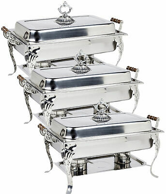 3 pc Choice Classic 8 Qt. Full Size Chafer Professional Wood Handles Ornate WEB