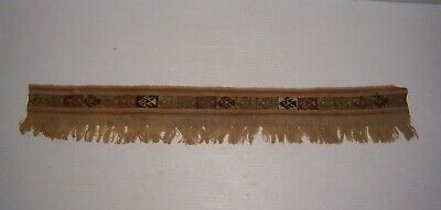 Pre-Columbian Peru Chancay Culture Woven Textile Strip with Fish ca. 1000 A.D.
