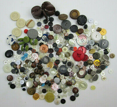 Vintage Mixed Lot of Buttons Plastic - Fabrick - Metal - ??? - 1/2 Pound