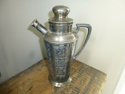 """Apollo Bernard Rice's Son What'll yer Have Cocktail Shaker 10.5"""" Silverplate"""