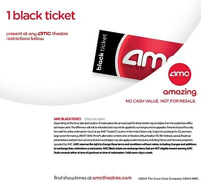 AMC Theater Black Movie Ticket Quick Delivery No Expiration