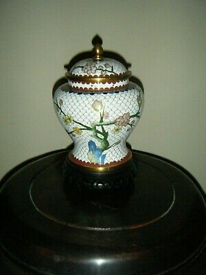 Snow White Cloisonne Vase/Jar With Lid Decorated Cherry Blossem On Wooden Stand
