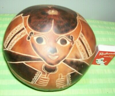 Vintage Peruvian Hand-crafted Tribal Gourd Signed by Artist