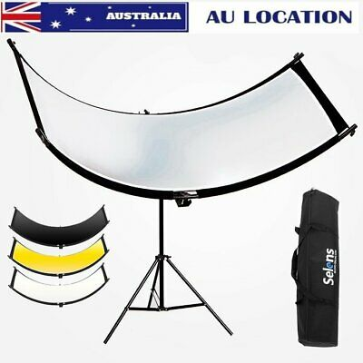 Selens Curved Reflector f Portrait Headshot Photo Studio + 2M Light Stand Kit AU