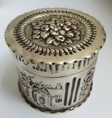 Beautiful Decorative English Antique 1880 Solid Sterling Silver Tea Canister Box