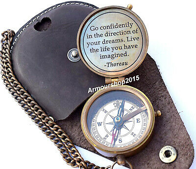 Antique Nautical Brass Pocket  Compass With Black Leather  Case free