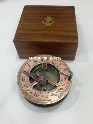 Sundial Compass Copper & Antique Vintage Style Nautical Maritime With Anchor Box