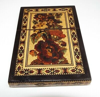FABULOUS CLEAN CONDITION ENGLISH ANTIQUE c.1870 TUNBRIDGE WARE CALLING CARD CASE