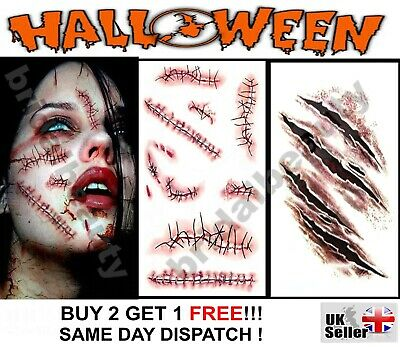 Halloween Zombie Scars Stitches Temporary Tattoos Party Wound Face Make-Up Kit
