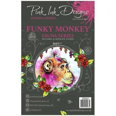 PINK INK DESIGNS A5 Clear Stamp Set FUNKY MONKEY PI044 Stamps to Inpsire
