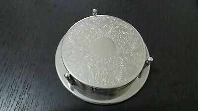 Silver Colour Pattern Table Drinks Vintage Retro Coasters Mats Set 6 In Holder