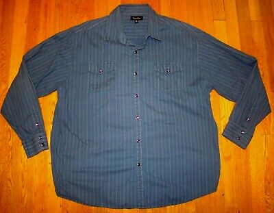 VTG TRUE GRIT Western Cowboy Blue Shirt Purple PEARL SNAPS Men's L Large