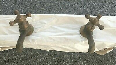 Pr Antique  Brass Separate Hot Cold  Sink Faucets Vtg  234-19J
