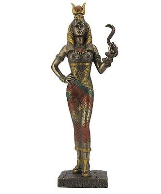 "11.5"" Egyptian Goddess Hathor Holding Snake Egypt Decor Statue Sculpture Figure"