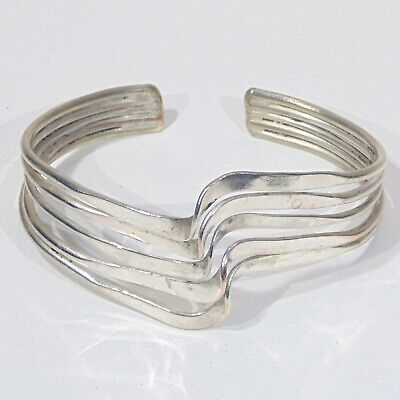 Vintage silver plated copper brass hand crafted raised wave form cuff bracelet