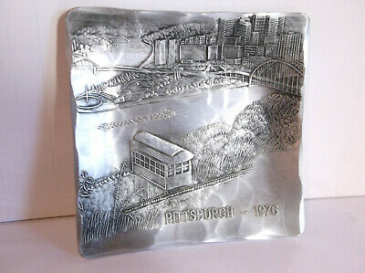 """Vintage Wendell August Forge Aluminum 1976 Pittsburgh Incline Square Dish 4 3/8"""""""