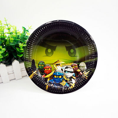 12pcs/lot Ninjago Theme Party Decoration Disposable Tableware Paper Plate Dishes