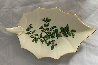 """Lenox Holiday Dimensions Leaf Dish 9"""" Handle 24K Gold Trim Gold Holly Berry"""