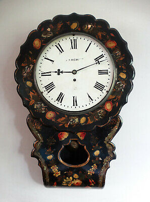Antique Victorian Fusee Drop Dial Wall Clock Ebonised Papier Mache & Pearl Case