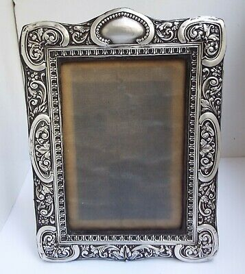 Lovely Large Decorative English Antique 1912 Solid Sterling Silver Photo Frame