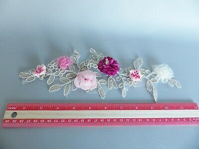 3D Floral Lace Embroidery Bridal Applique Beaded Pearl Tulle Wedding Vintage: E