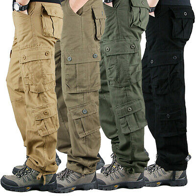 ✅Men's Baggy Cargo Work Trousers Army Military Combat Multi Pockets Casual Pants
