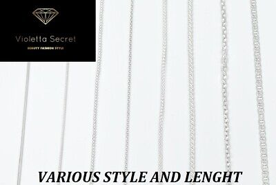 NEW Genuine Solid 925 Sterling Silver Curb Chain snake Necklace boys ladies girl