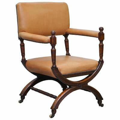 Lovely Mid Victorian Tan Brown Leather Open Armchair Walnut Frame Brass Castors