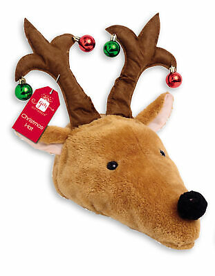 Adult Novelty Plush Christmas Reindeer Hat With Baubles Xmas Party Fancy Dress