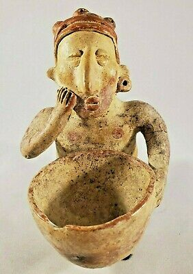 STUNNING Pre-Colombian Pottery Figure holding a Small Bowl - Repaired