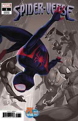 Spider-Verse 1 V2 2019 Nycc Px Partial Sketch B&W Variant Nm