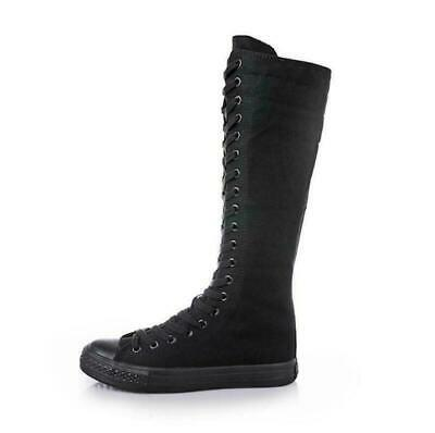 Womens Girls Canvas Knee High Sneakers Zip Boots Punk Gothic Shoes Lace Up Dance