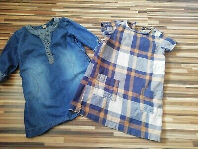 Job Lot Two Girls Tu Denim Shirt Dress 5 Years + Checked Next Dress 6 Years