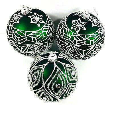 Large Green Glass Christmas Ball Ornaments Jeweled Clear Stones Glitter Lot of 3