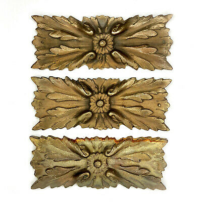 Antique French Rococo Ornate Floral Brass Ormolu Mounts Set of 3