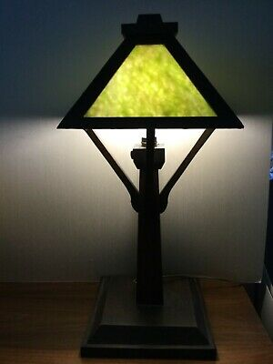 "Antique Arts&Crafts table lamp Tiger oAk &green glass 24inch tall 10/10 "" base"