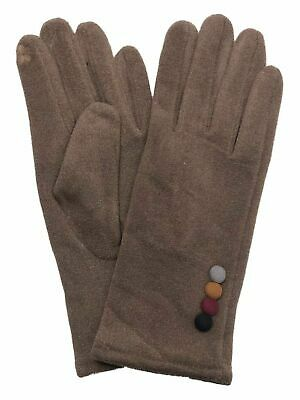 Womens Brown Faux Suede Button Stretch Fit Texting & Tech Touchscreen Gloves