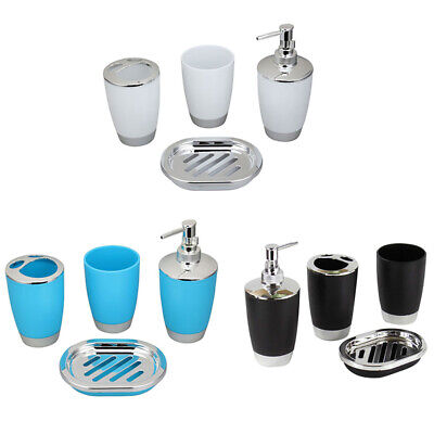 4Pcs Plastic Home Bathroom Bath Accessories Cup Toothbrush Holder Soap Dish USA