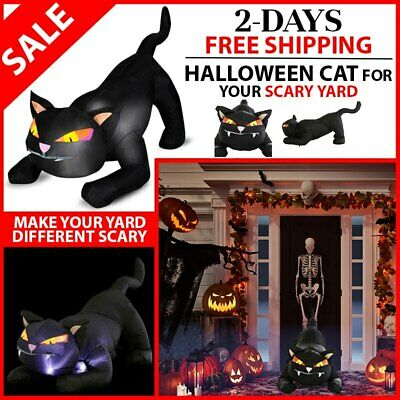 Inflatable Black Cat Halloween Airblown 4x2 ft. Yard Animated Outdoor Decoration