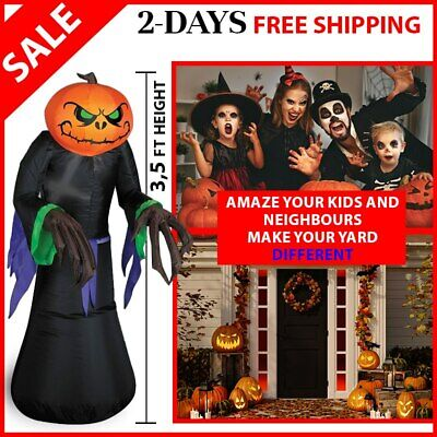 5ft Halloween Airblown Inflatable Pumpkin Reaper Ghost Outdoor Decorations Yard