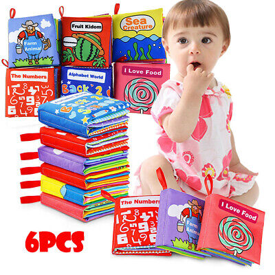6Pcs Cloth Books Baby, My First Non-Toxic Soft Clothing Book Educational Toy