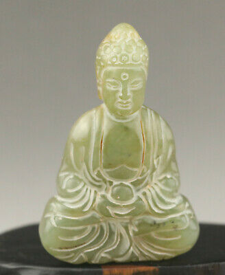 Old Chinese natural jade hand-carved buddha pendant