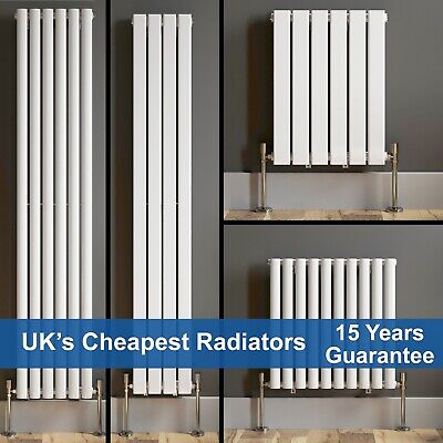 Designer Radiator Vertical Horizontal White Flat Panel Oval Column Double Rads